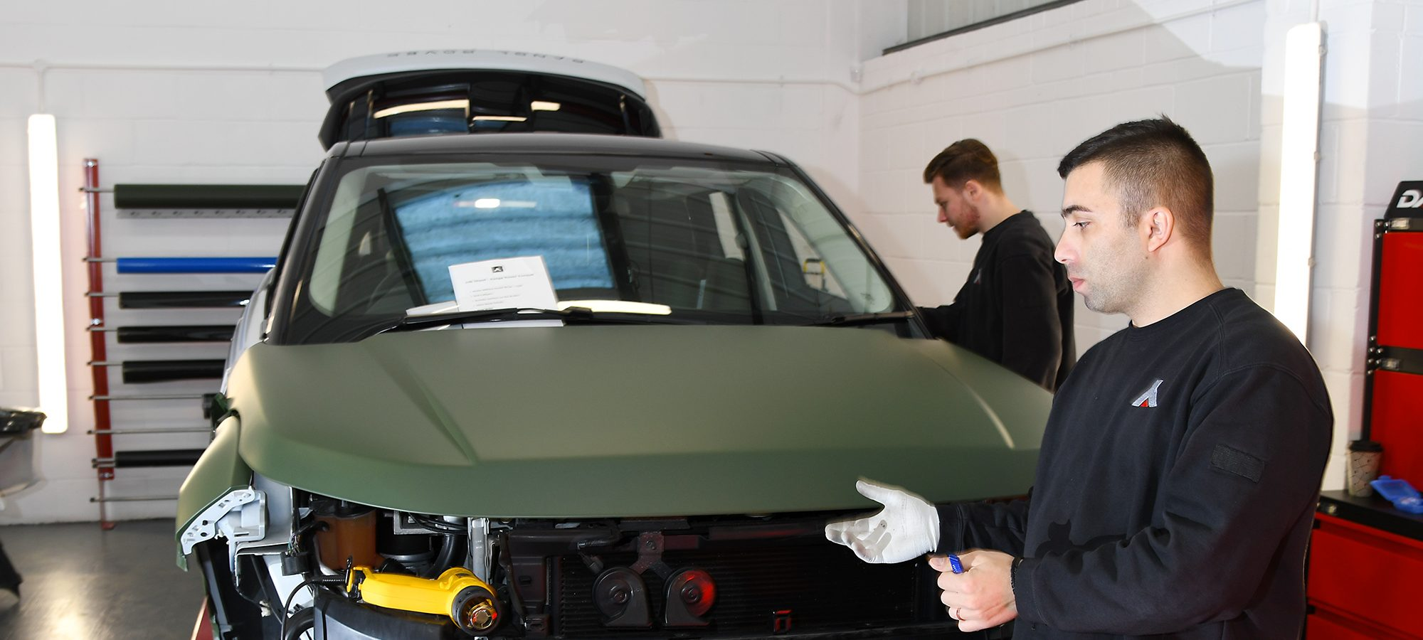 Car Wrapping on a Range Rover Evoque in Military Green